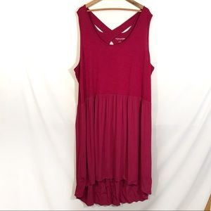 Soft Surroundings cranberry hi lo crêpe dress